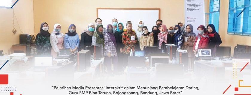 Pelatihan Media Presentasi Interaktif dalam Menunjang Pembelajaran Daring, Guru SMP Bina Taruna Bojongsoang, Bandung, Jawa Barat